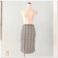 9号 白黒コットン花柄レーススカート