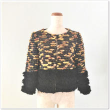 黒×紺×黄LINTONツイード 3段フリンジジャケット