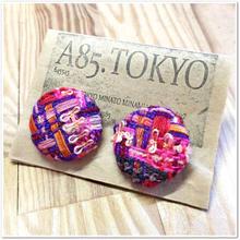 LINTONツイードピアス 紫×ピンク×オレンジ