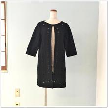 【OFF】ブラック 花柄コットンレース 一枚仕立てコート