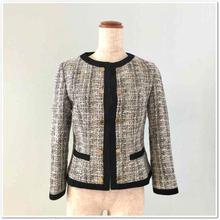 白×黒×パープルツイード 飾り金ボタンジャケット