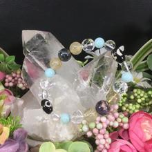 日月星天珠とスギライトとラリマーとルチルと水晶のブレスレット
