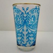 ミントティーコップ・グラス 孔雀ブルー 約H8.5×φ5cm