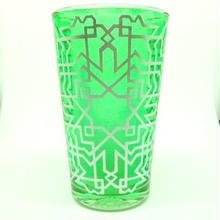 モロッコ プリントグラスコップ みどり(グリーン)8cm×5cm