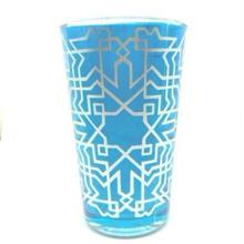 モロッコ プリントグラスコップ 青(ブルー)8cm×5cm