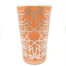モロッコ プリントグラスコップ オレンジ8cm×5cm