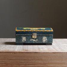 antiques 緑のトールペイントの木箱