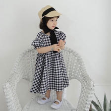 puff sleeve  ginghamcheck one-piece