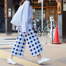 3colors-mosaic wide pants