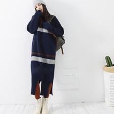 Border retro  sweater dress