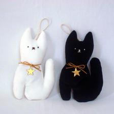 ハロウインサシェ  猫  ホワイト  ブラック
