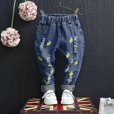 レモン刺繍ダメージジーンズ