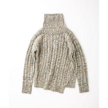 PA7AW-KT08 MIX YARN CABLE HIGH-NECK KNIT