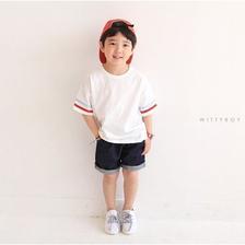 【韓国子供服】2ラインTシャツ