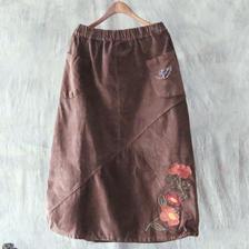 レトロな花柄刺繍デザイン コーデュロイスカート ブラウン
