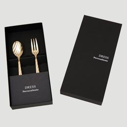 DRESS TeaSpoon&TeaFork 2pcs.Set Gold【ティースプーン&ティーフォーク2本セット ゴールド】