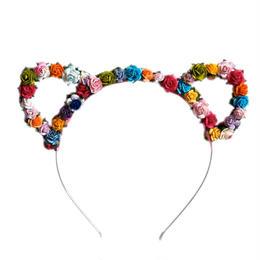 カラフルな小花で飾られた猫耳のヘアバンド★ ガーリーなヘアアクセ(フリーサイズ)ヘッドドレス