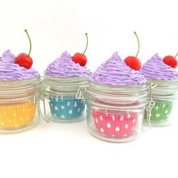 東欧☆カップケーキのガラス製小物入れ★パープルのフロストとチェリーが可愛い★【プレゼント】【ジャー】