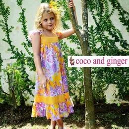 Coco and Ginger (ココアンドジンジャー)の花柄が可愛いオレンジの花柄サマードレス☆Sugar Dress