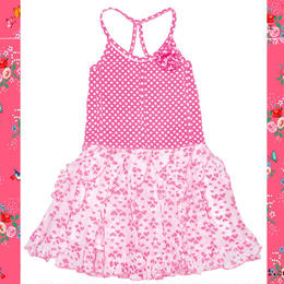 Mim-Pi(ミンピ)ピンクのドットとハートのミックスプリントが可愛いワンピースドレス