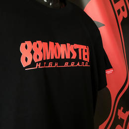 文字ロゴTシャツ 黒/赤