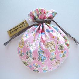リバティキャンディ巾着・ギャリーモジャースレイナード(アリス柄)・ピンク