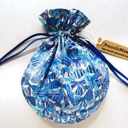 キャンディ巾着・リバティ・ ジェニーズリボンズ・ブルー
