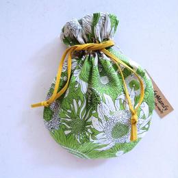 キャンディ巾着・リバティ・スモールサス・グリーン(リボンイエロー)