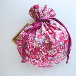 リバティキャンディ巾着・ジェニーズリボンズ・ピンク
