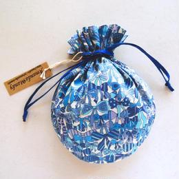 リバティキャンディ巾着・ジェニーズリボンズ・ブルー(グリッター)
