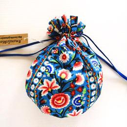 リバティキャンディ巾着・フォントラップ・ブルー