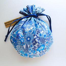 リバティキャンディ巾着・マーガレットアニー・ブルー単色