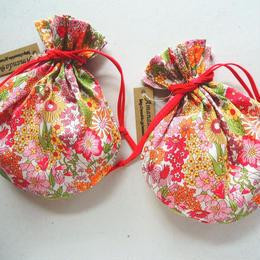 キャンディ巾着・リバティ・ マーガレットアニー・オレンジ(お客様レビューあり)