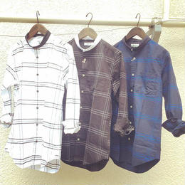 新年sale50%off !!amc 先染めoxチェック バンドカラーシャツ¥5900