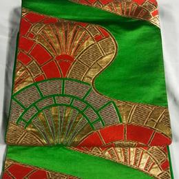 【Pure Silk Antoque】アンティーク袋帯緑地に豪華金銀刺繍!あでやかな緑色地の帯はまさに昭和レトロ。