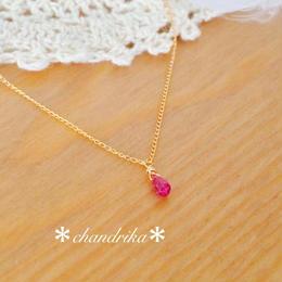 ピンクトルマリンの小さな一粒ネックレス
