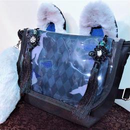 アルマジ製作所 タッセル付きお狐バッグ グレー×黒タッセル G3