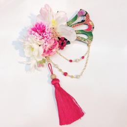 estrelleas/エストレージャス 華くす玉の髪飾り T009薄赤