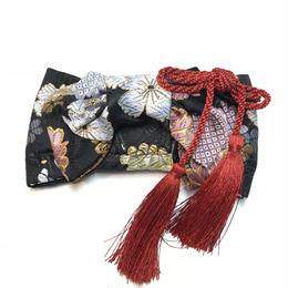おびるん 花折結びクリップ 桜菊花/西陣織/黒