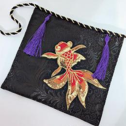 アルマジ製作所 【金魚】マスク 赤 柄×紫