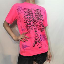 D/3/ディースリー medical records of ribs T-shirts (メディカルレコード オブ リブ Tシャツ) F.PINK×BLACK×PURPLE(蛍光ピンク×黒×紫) d3
