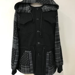 PATCHWORK FABRIC HOOD JACKET
