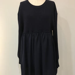 WOOL KNIT GATHER ONE-PIECE