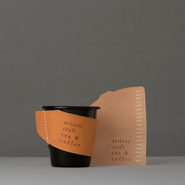 falcon  enamelware cup (black) + craft leather sleeve & coaster