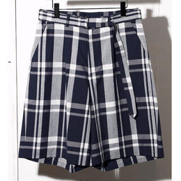 C / LI / SI  CHECK  BELTED  LOOSE  SHORT PANTS