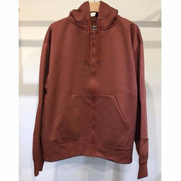 NYLON /COTTON PILE ZIP UP HOODIE TOPS