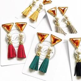 Amber Triangle × Tassel Earring