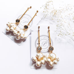 Bubble Pearl Bar Earrings