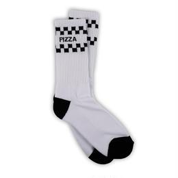PIZZA Check Socks (White, Black)