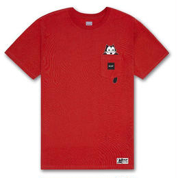 HUF × FELIX WATCHING POCKET TEE (RED, BLACK)